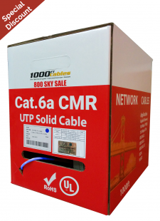Cat6A Riser CMR 1000FT Solid Copper UL Networking Cable Blue